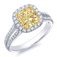 canary yellow engagement rings 1 46 ct canary fancy yellow cushion cut engagement ring