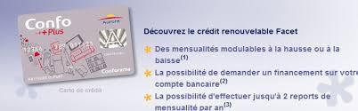 conforama si e facet crédit renouvelable avec la carte aurore confo
