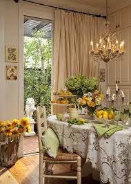 sunflower dining room shabby chic style with chandelier