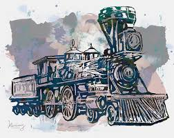 classical steam train stylized pop art poster drawing by kim wang