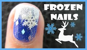 frozen winter nail art snowflake reindeer design tutorial for