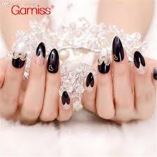 wholesale black silver stiletto nails faux fingernails tips