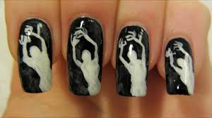 easy spooky ghost halloween design in black and white nail art