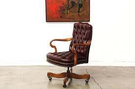 Red Leather Office Chair Vintage Red Leather Desk Chair Retro Leather Desk Chair Retro