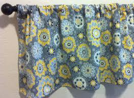 Kitchen Window Valances Gray And Yellow Kitchen Valance Grey U0026 Yellow Floral Valance