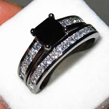 black diamond wedding set women s 18k black gold filled black diamond sapphire cz paved two