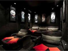 Media Room Decor Black And Grey Media Room Red Leather Couch Design Pictures