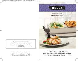 bella 13271 2 5 qt triple buffet server and warming tray user