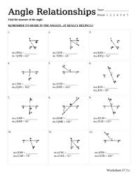 collection of solutions angle relationships worksheets with