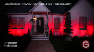halloween light display projector lightshow projection fire ice red yellow youtube