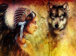 indian wearing with wolf and feather headdress painting