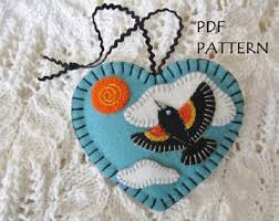 pdf pattern wing blackbird ornament felt crafts