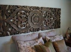 Carved Wood Headboard Concrete Wall Carved Headboard And I Like The Shabby