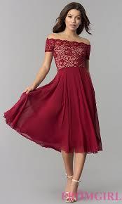burgundy dress for wedding guest tea length shoulder wedding guest dress promgirl