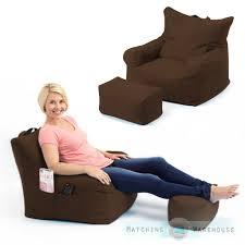large indoor outdoor bean bag garden chair u0026 foot stool lounger