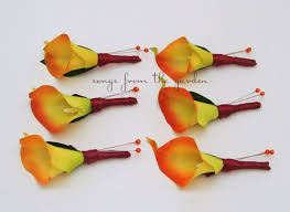 calla colors fall wedding real touch orange calla boutonnieres groom