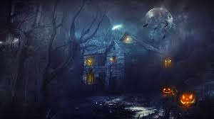 pumpkin halloween background halloween house night moon pumpkin wallpaper 2560x1440 166945
