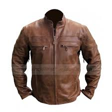 biker coat cafe racer brown leather jacket mens vintage biker jacket