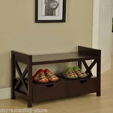 Shoe Storage Bench With Seat Contemporary Entryway Shoe Storage Bench Seat Cherry Wood Hallway