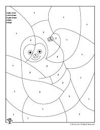 sloth color by number woo jr kids activities