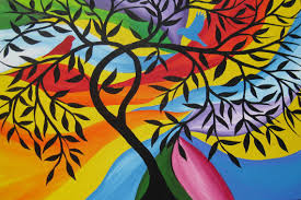 tree of life painting on canvas large huge bright colorful