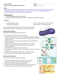 honors biology name chapter 7 u2013 cellular respiration study