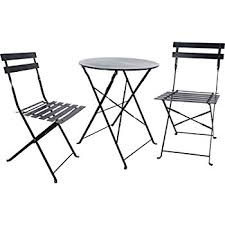 Folding Bistro Table And 2 Chairs Amazon Com Cosco 3 Piece Folding Bistro Style Patio Table And