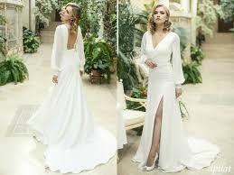 Wedding Dress With Train Ivory Crepe Open Back Wedding Dress And Handmade By Apilat On Zibbet