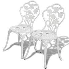 Three Piece Patio Furniture Set - vidaxl three piece bistro set white cast aluminum vidaxl com