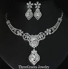 white stone necklace sets images Bridal jewellery sets gorgeous tear drop white gold plated cubic jpg