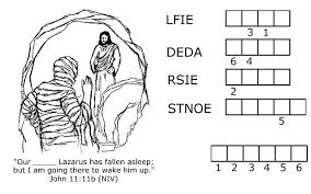 jesus raises lazarus from the dead word jumble