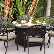 Patio High Dining Table by Darlee Elisabeth 7 Piece Cast Aluminum Patio Fire Pit Dining Set