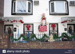 christmas decorations outside house in the greenpoint section of