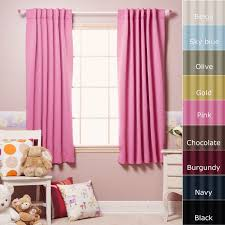 pink drapery curtains with white steel rod on pink wall paint plus
