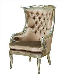 antiqued silver leaf finish upholstered accent wingback arm chair
