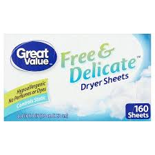 great sheets great value free delicate dryer sheets 160 sheets walmart com