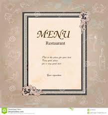 restaurant menu design with old floral frame stock vector image