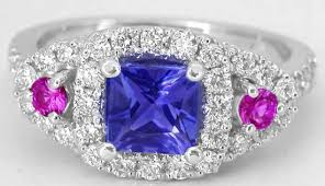 tanzanite rings from images Tanzanite ring with pink sapphires in 14k white gold with princess jpg