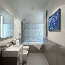 elegant bathroom design with white floor and brown wall tile ideas