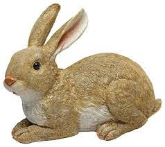 design toscano bashful the bunny lying garden rabbit statue