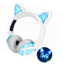 light up cat headphones qiwoo kids headphones with cat ear usb rechargeable adjustable led