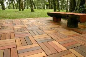 patio outdoor cozy wood bench on well made wood deck tiles