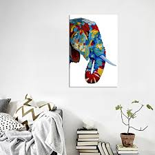 how to hang art prints rain queen abstract colorful elephant head painting canvas print