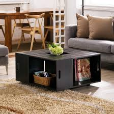 Storage Living Room Tables Black Square Coffee Table With Open Shelf Storage 2 Tables