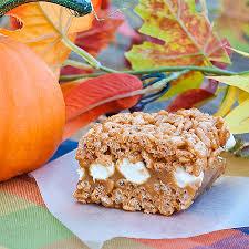 Rice Crispy Treat Pumpkins Caramel Filled Pumpkin Spice Rice Krispie Treats Real Mom Kitchen