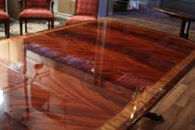 inlaid double pedestal mahogany dining table seats 14 people standard mahogany finished dining table true color on our standard natural mahogany finish