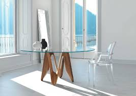 Round Glass Dining Table With Wooden Legs Lambda Glass Dining Table Transparent Glass Top With Solid Wood