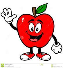 apple cartoon apple waving stock vector illustration of stem showing 53440625