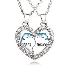 friendship heart necklace images 2pcs dolphins friendship heart necklace pinpointweave jpg