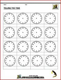 large blank clock template handwriting for kids math time